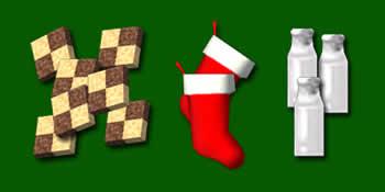 デカロン_クリスマスクッキー、クリスマスミルク、サンタのくつした