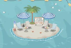 ニコッとタウン_ビーチ広場3は海に浮かぶ孤島!クジラやイルカにも会えます