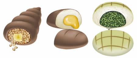 キャラフレ_「メモリーズオフ」コラボアイテム、バナ納豆パン、ウニパン、メロンパン