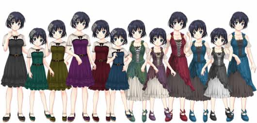 ャラフレ_女子専用コスチューム「フォールズドレス」「オータムテイルドレス」