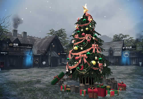 マビノギ英雄伝_冬の訪れイベント_コレン村がクリスマスらしい装いに