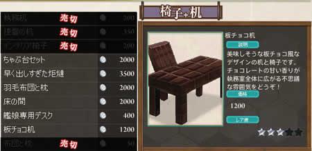 艦隊これくしょん〜艦これ〜_アイテム屋さん、板チョコ型の机